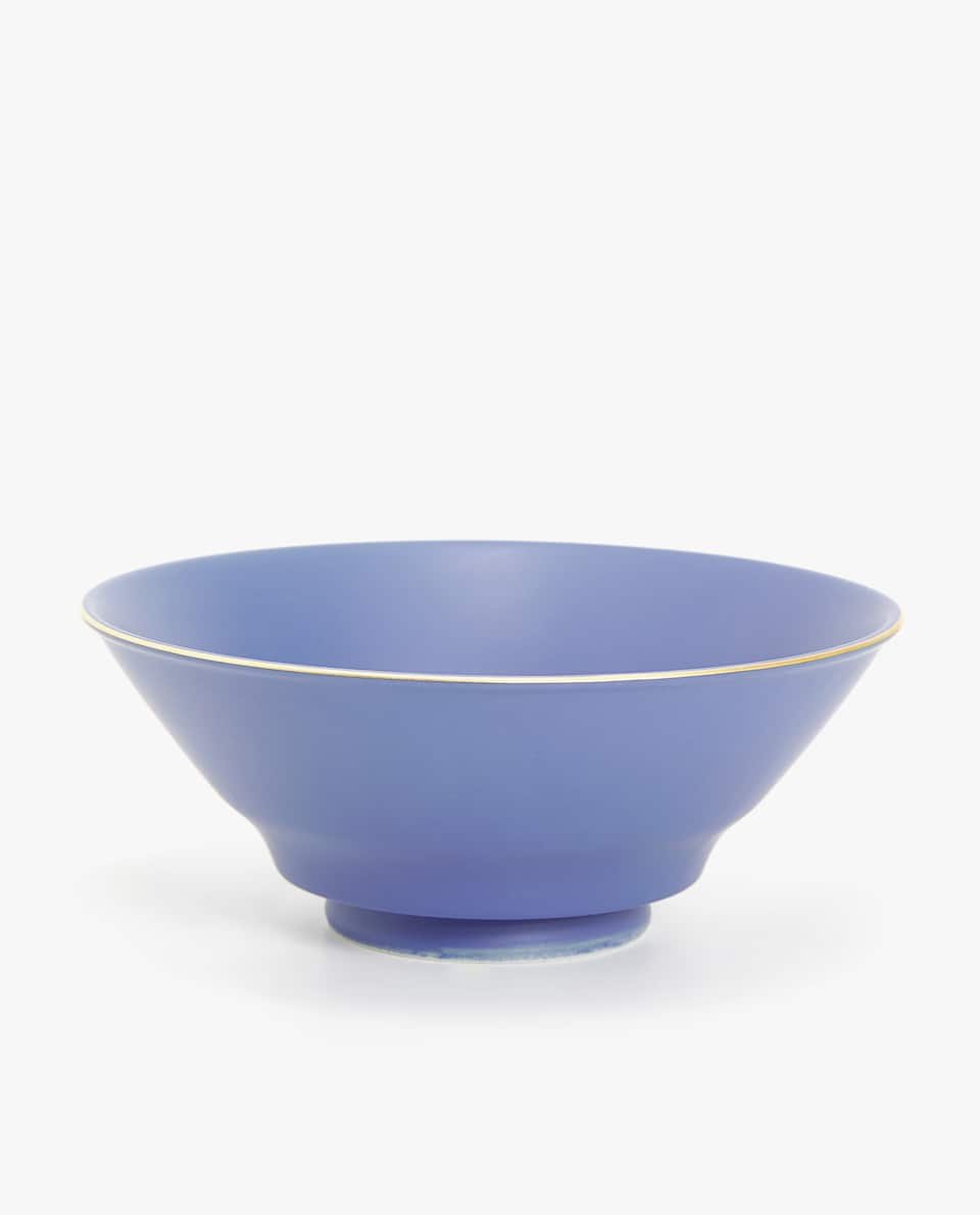 PORCELAIN SALAD BOWL WITH GOLD RIM