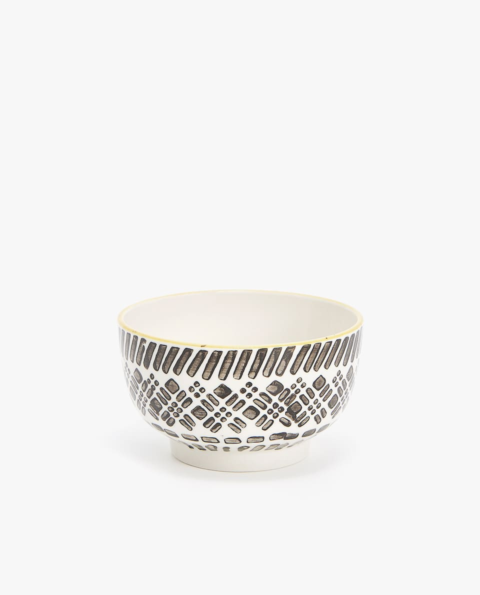 PORCELAIN MINI BOWL WITH GEOMETRIC DESIGN