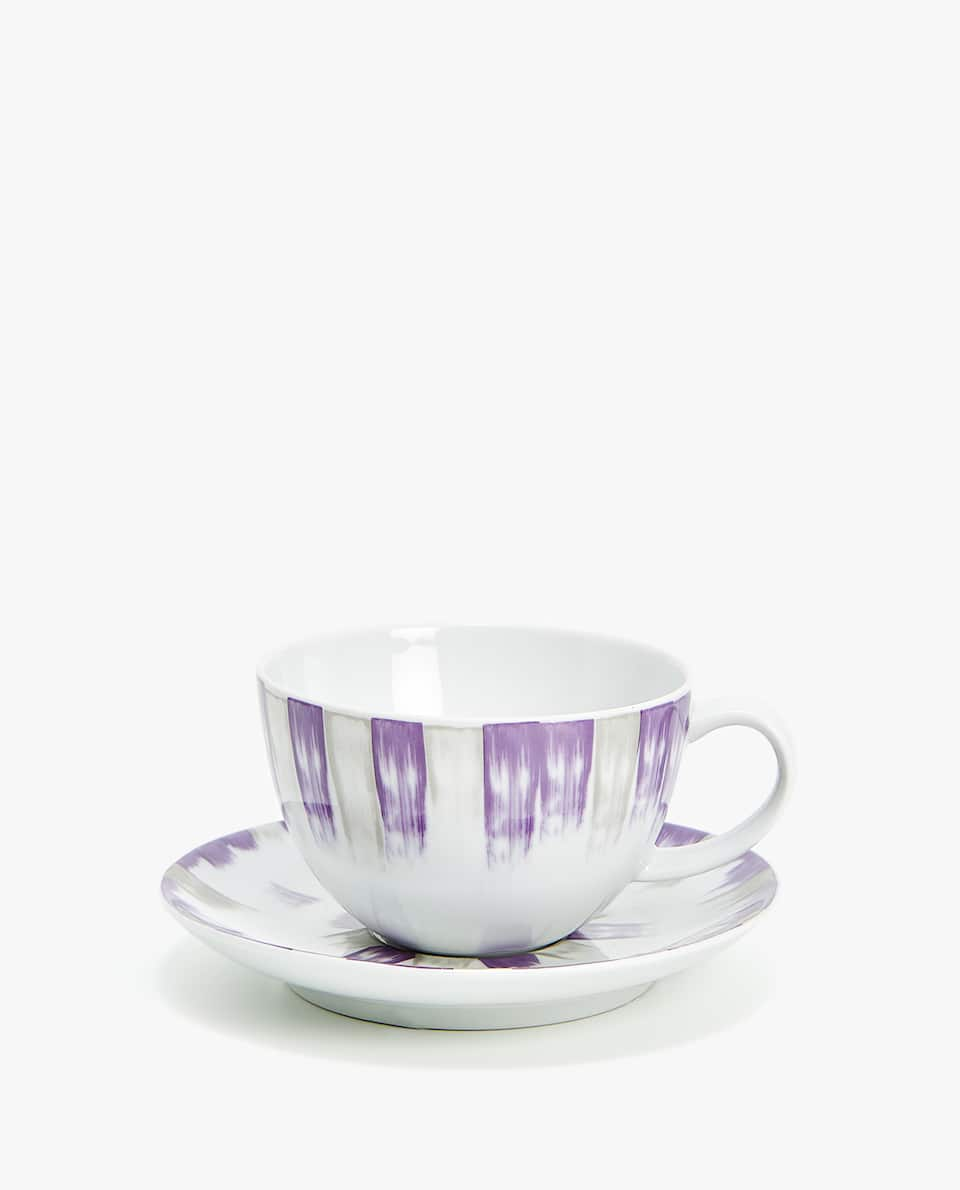 PORCELAIN TEACUP AND SAUCER WITH COLOURED STRIPE