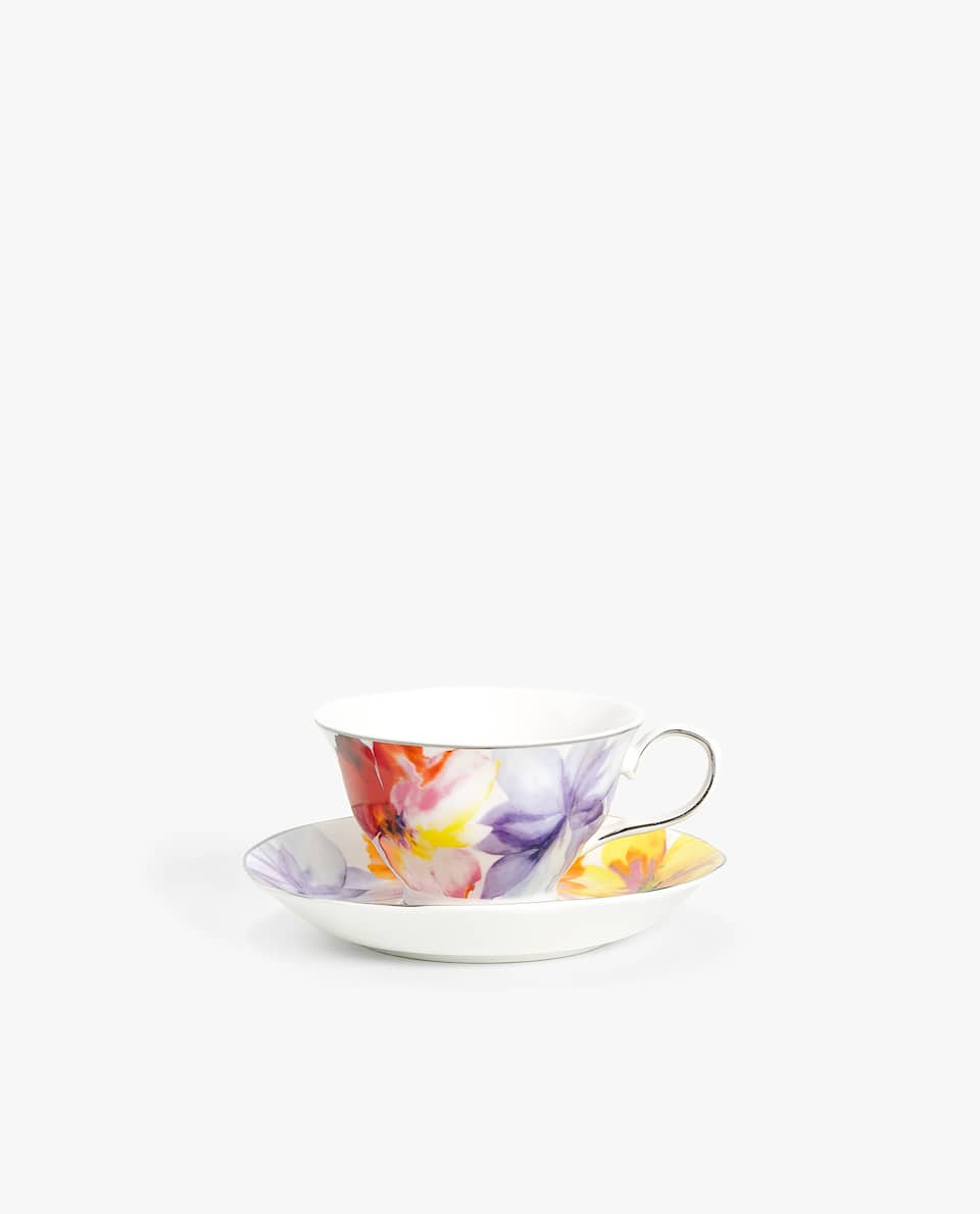 MAGNOLIA PORCELAIN TEACUP AND SAUCER