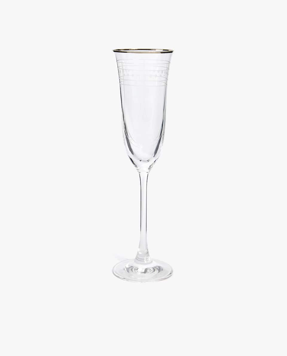 CHAMPAGNE FLUTE WITH ENGRAVED DETAIL