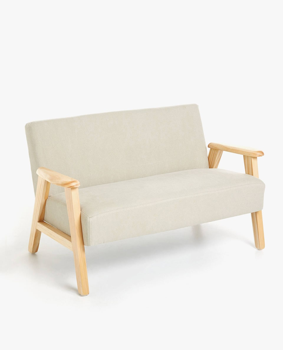 TWO SEATER COUCH WITH WOODEN FRAME