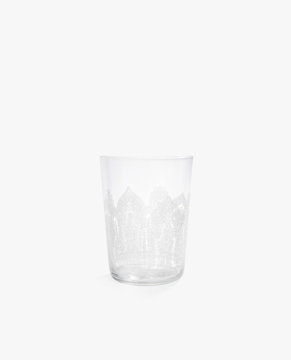 FLORAL GLASS SOFT DRINK TUMBLER