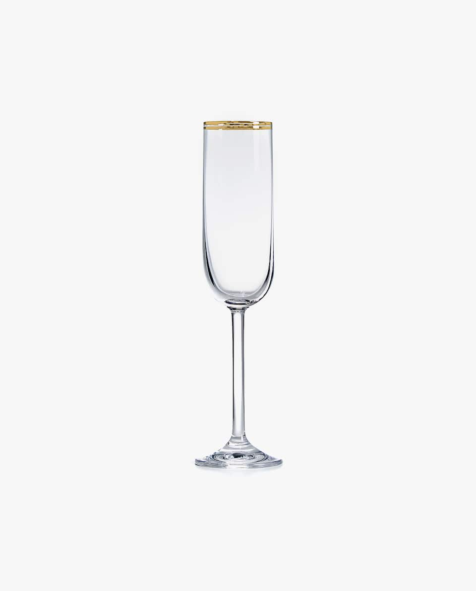 CHAMPAGNE FLUTE WITH DOUBLE GOLD RIM