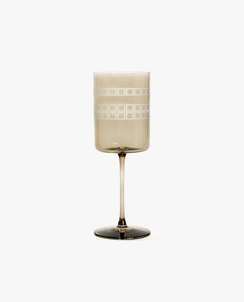 WINE GLASS WITH SQUARES BAND