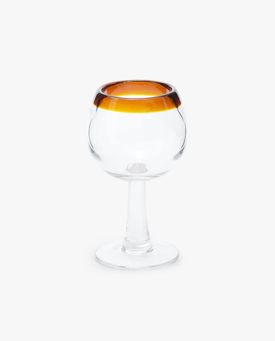 COLOURED RIM WINE GLASS