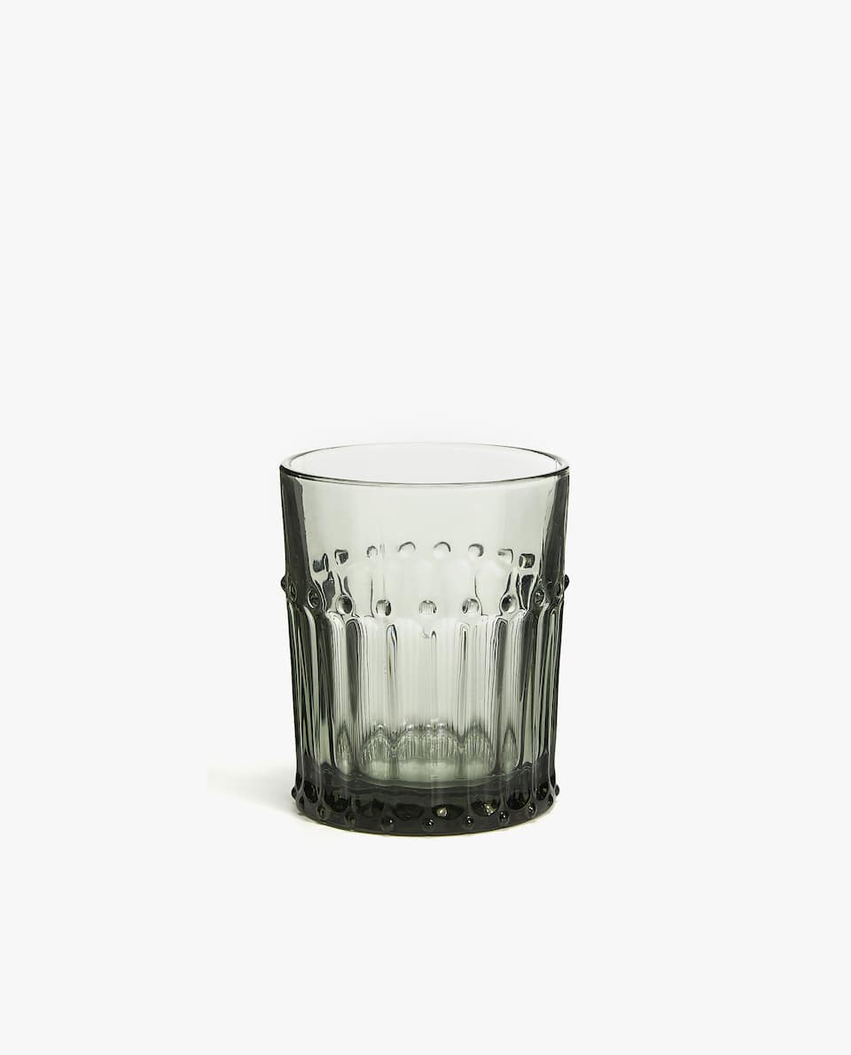 GLASS TUMBLER WITH DOTTED DETAIL