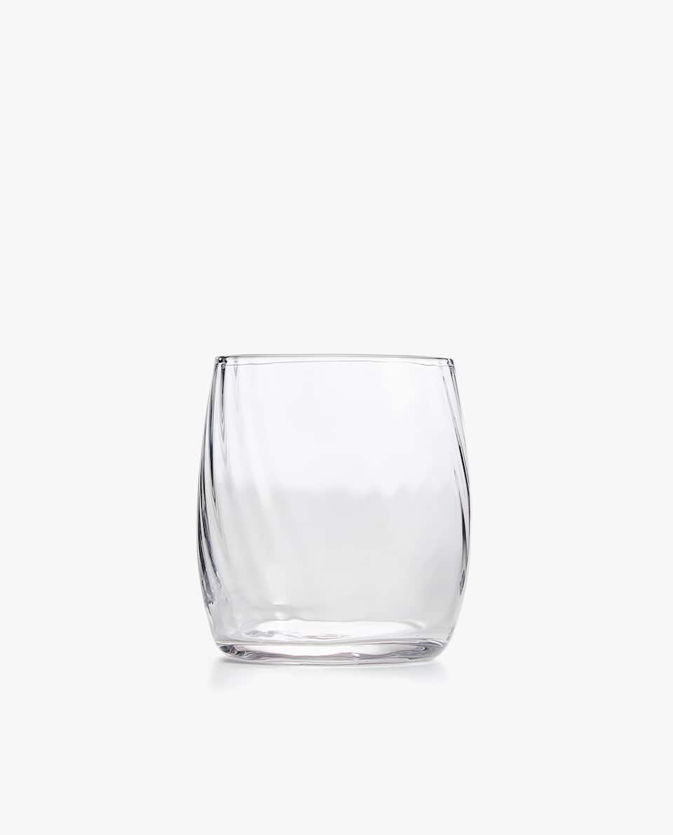 GLASS TUMBLER WITH OPTICAL STRIPE
