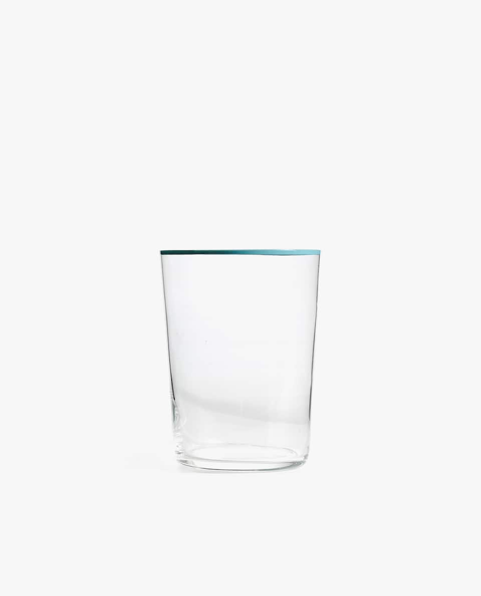GLASS SOFT DRINK TUMBLER WITH COLORED RIM