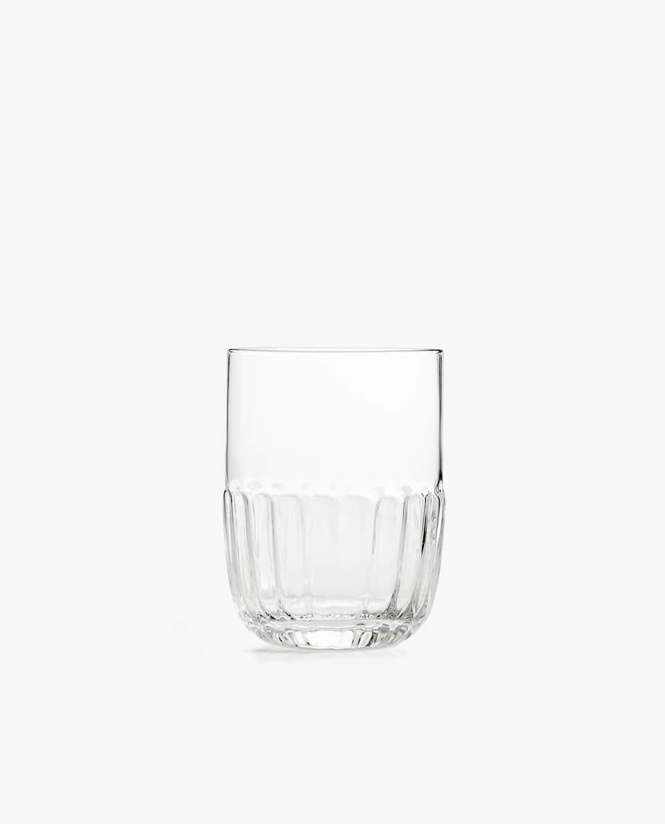 GLASS TUMBLER WITH WAVY BASE
