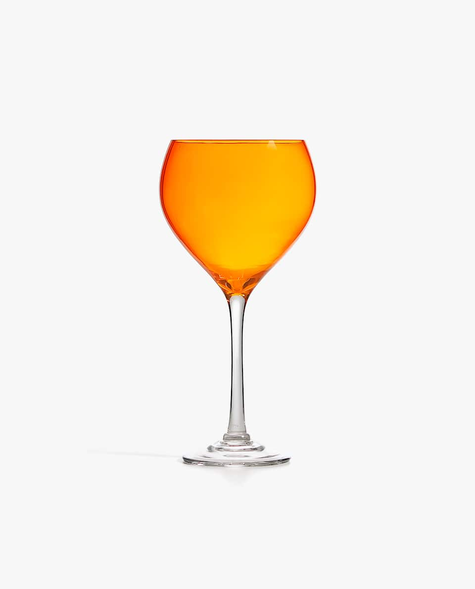 ORANGE GLASS WINE GLASS