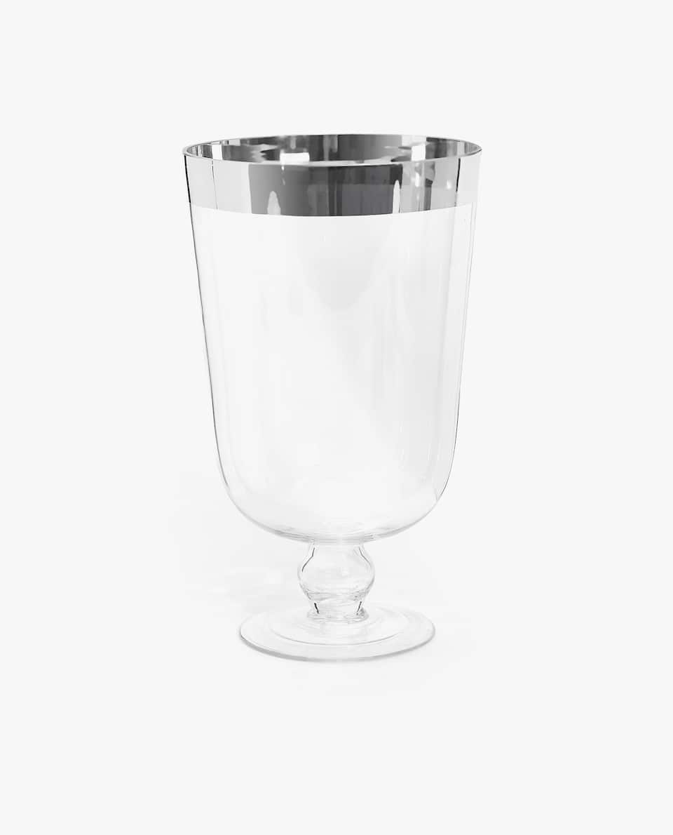 GOBLET VASE WITH A SILVER RIM