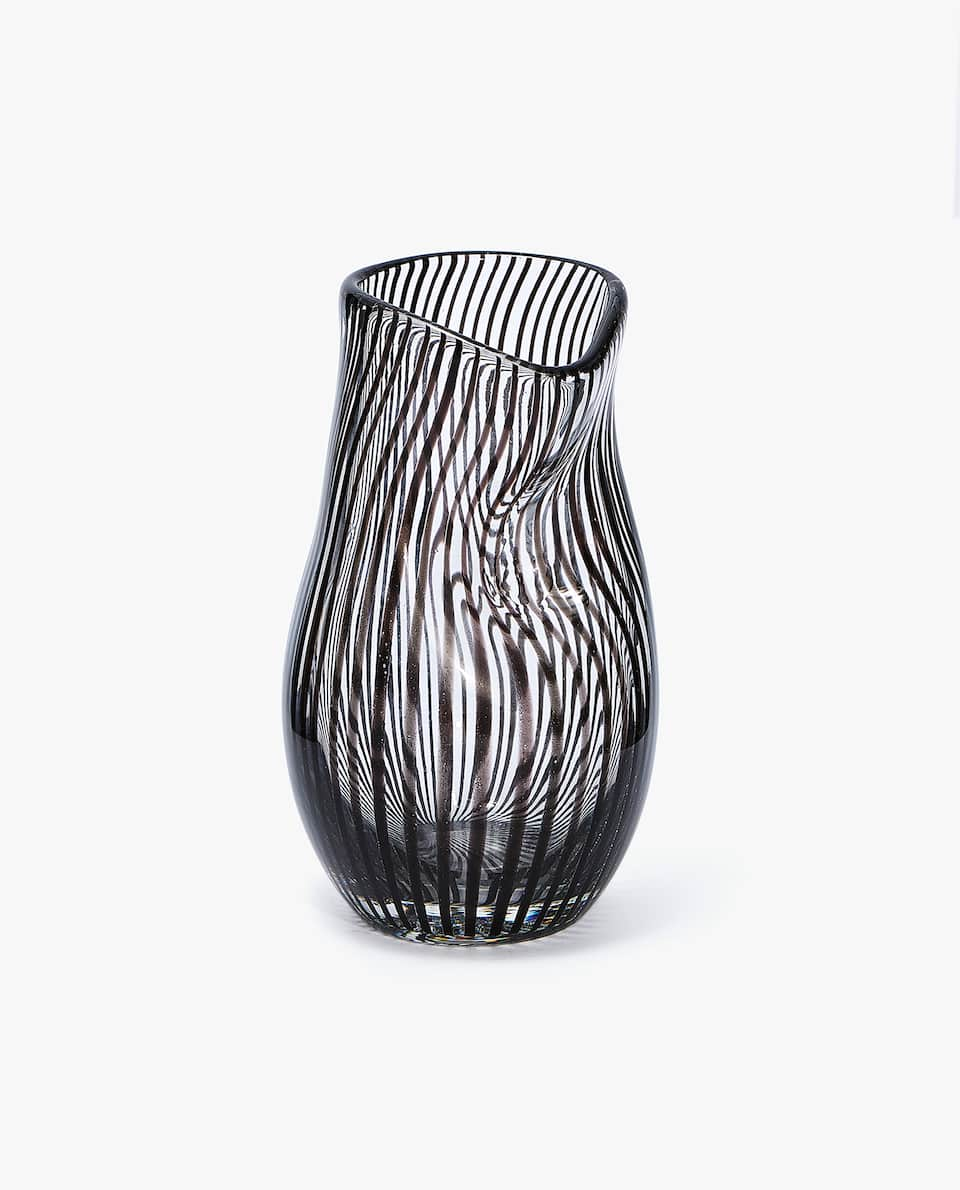 BLACK STRIPED GLASS VASE