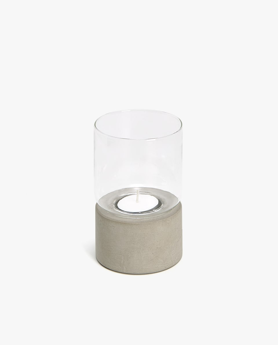 Tealight holder with cement base