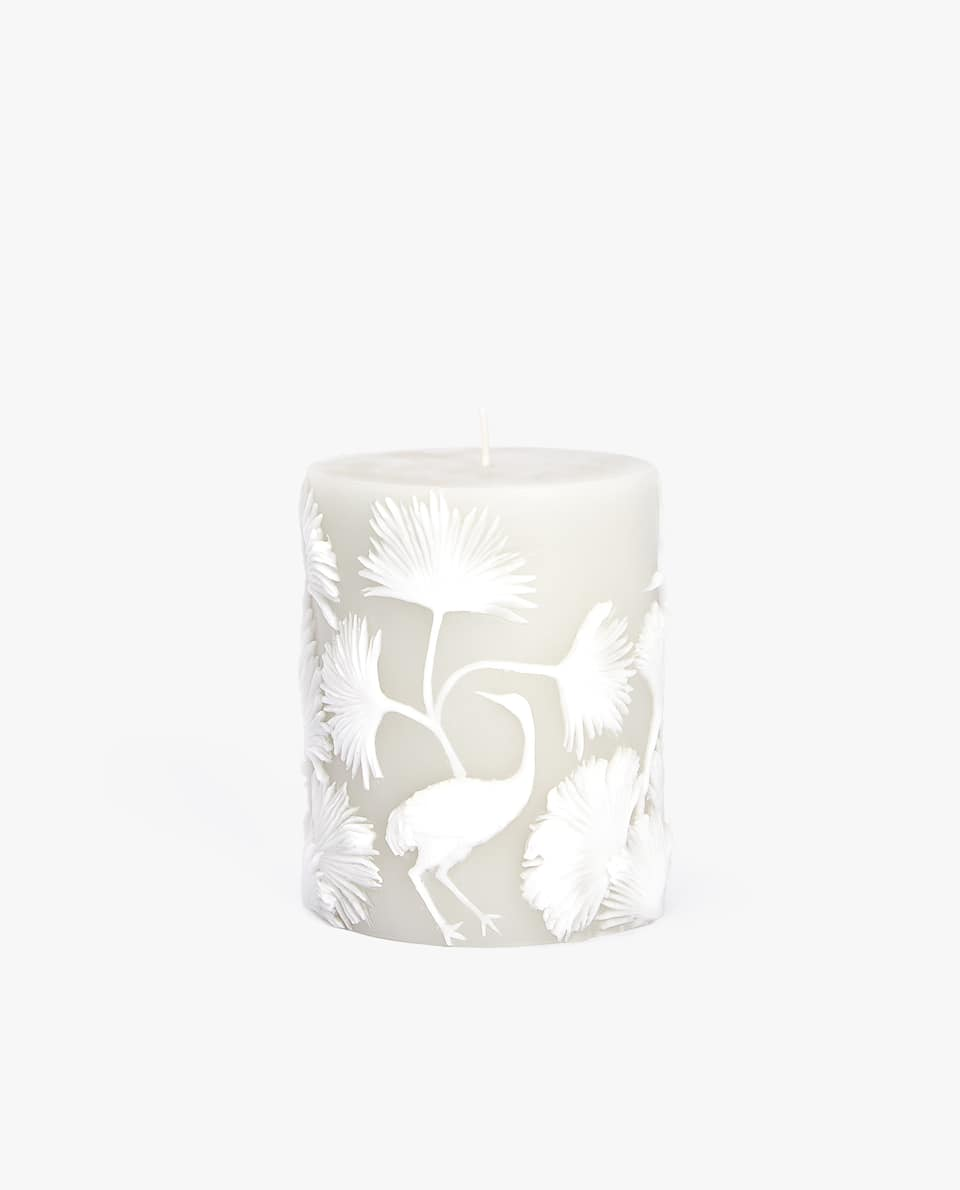 FLOWERS AND BIRDS CYLINDRICAL CANDLE