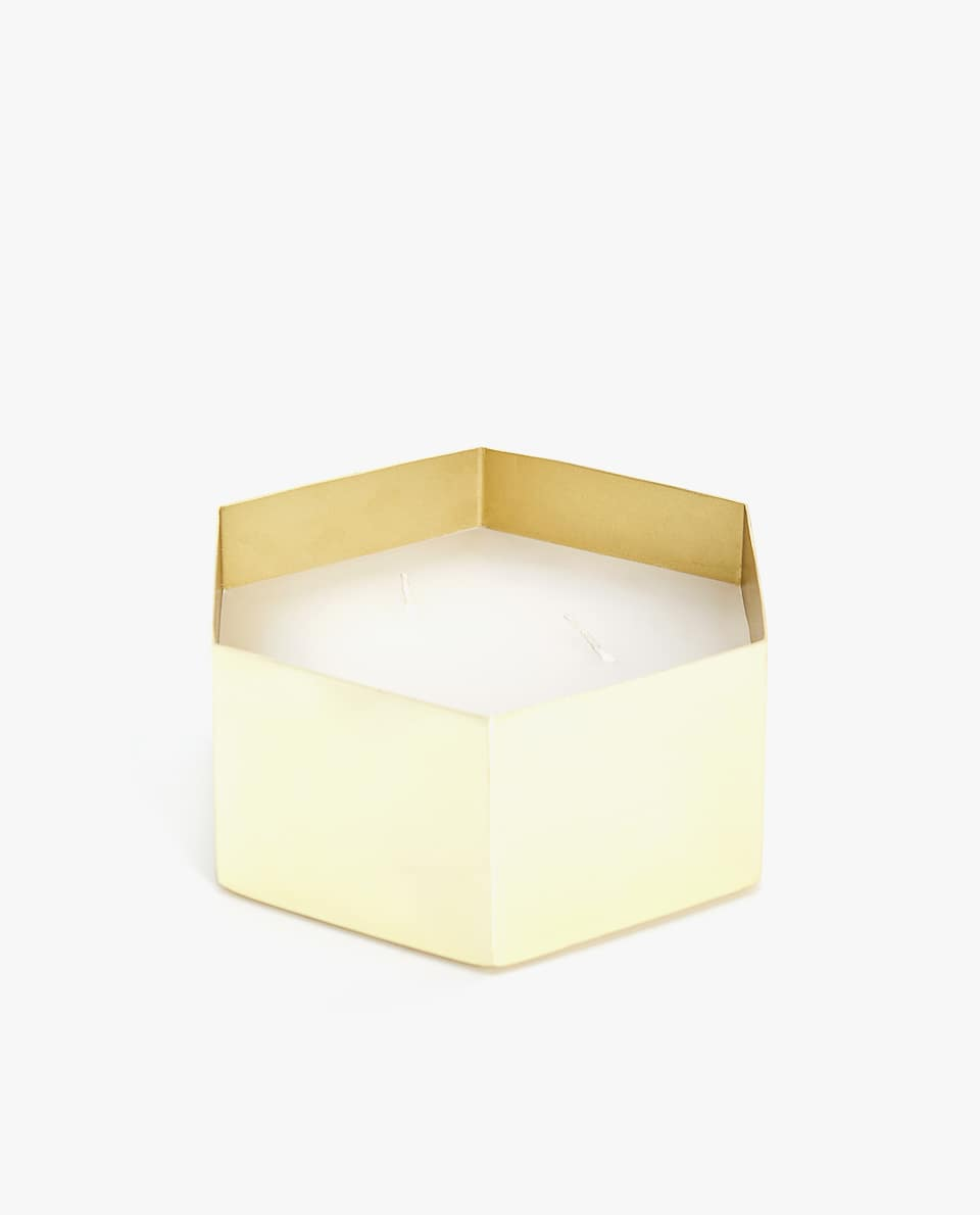 GOLDEN HEXAGONAL CANDLE HOLDER