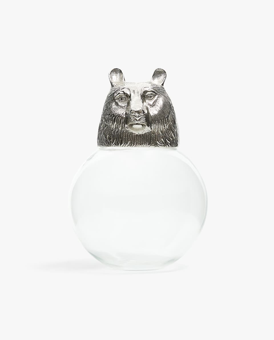 DECORATIVE JAR WITH BEAR LID
