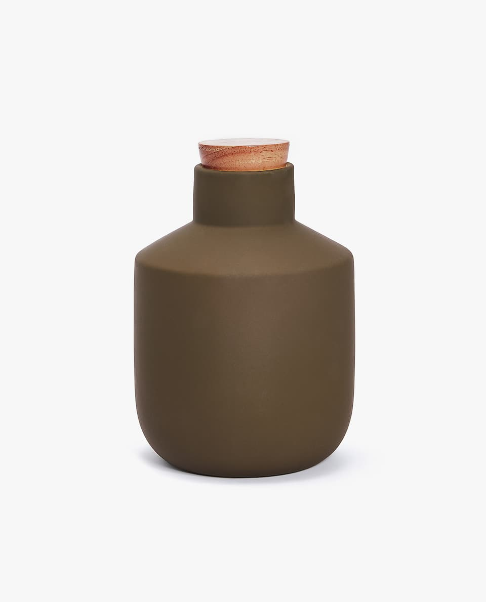DECORATIVE JAR WITH WOODEN LID