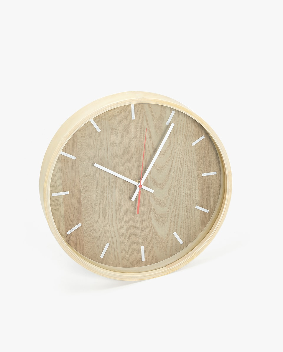 WALL CLOCK WITH WOODEN BORDER