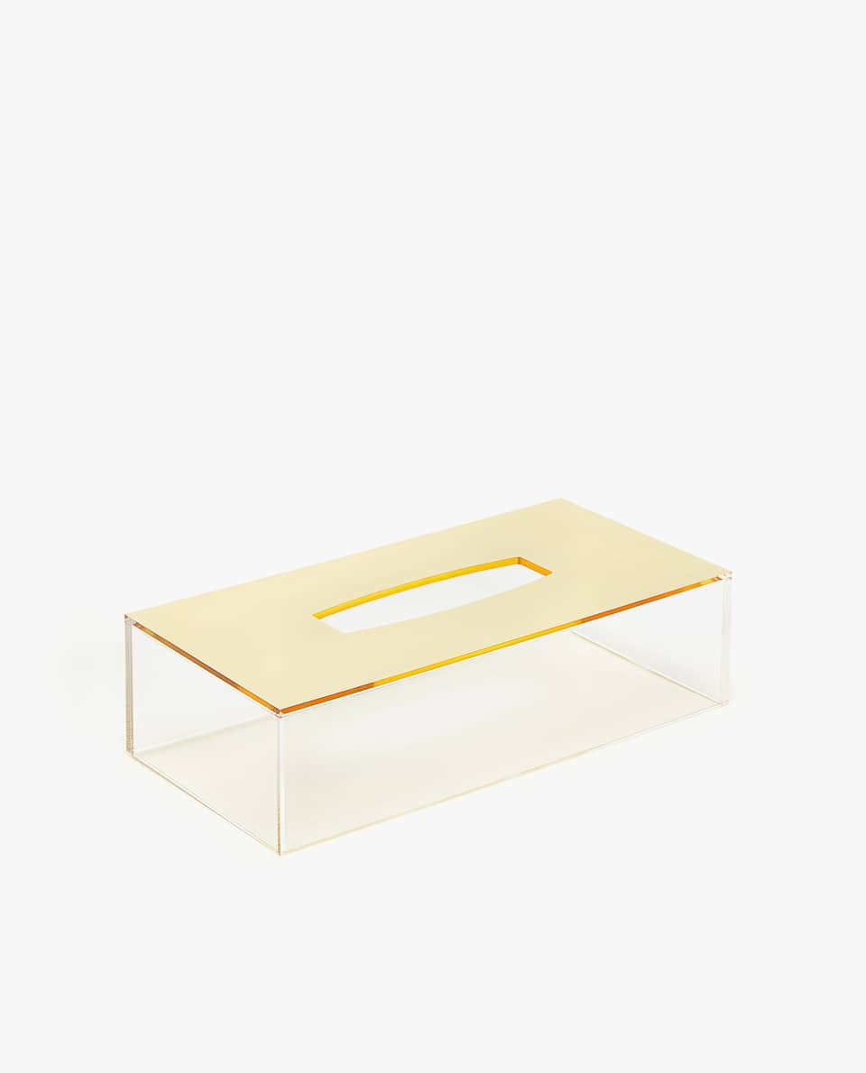 GOLDEN ACRYLIC TISSUE BOX
