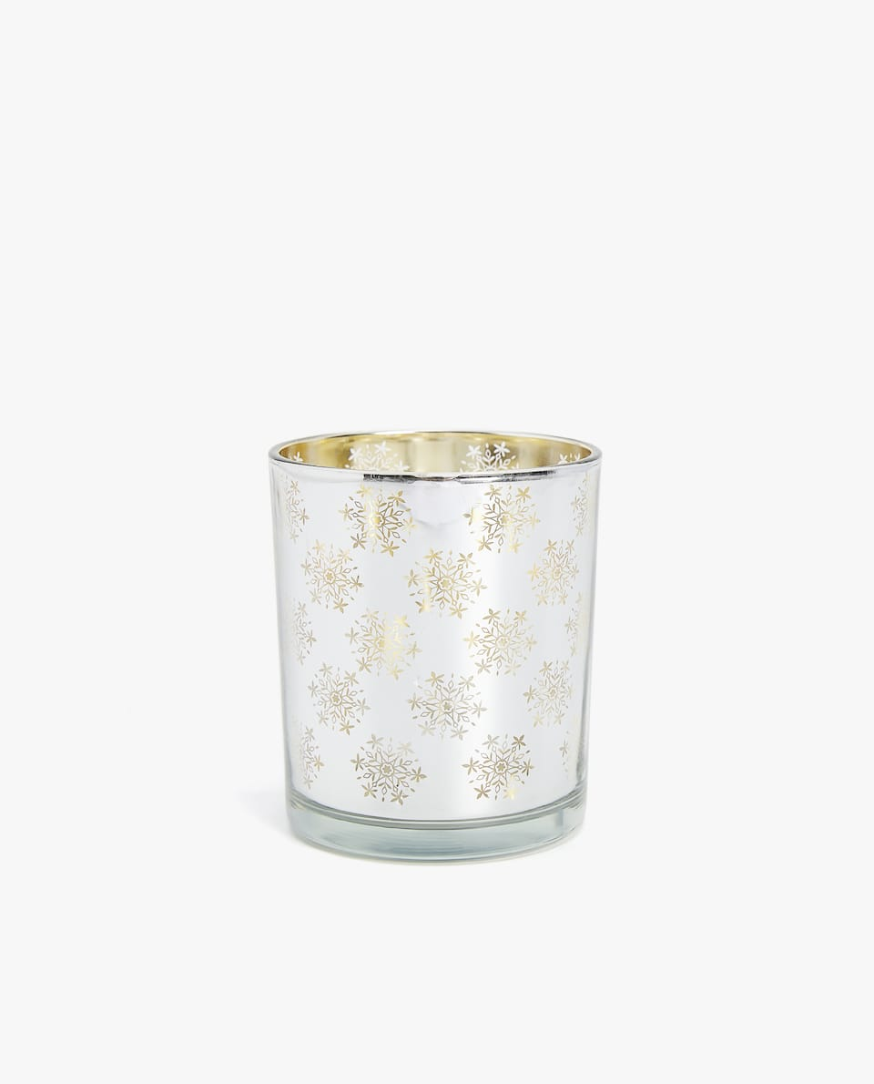 SILVER-TONED GLASS TEALIGHT HOLDER
