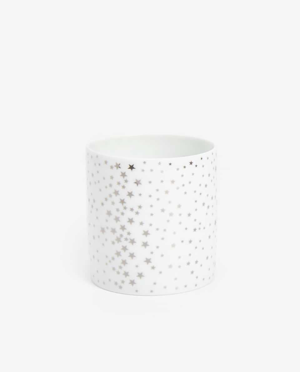 GOLDEN PRINT CERAMIC TEALIGHT HOLDER