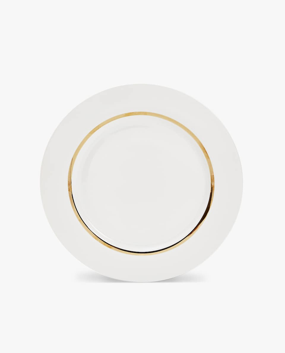 GOLD-RIMMED PORCELAIN DINNER PLATE