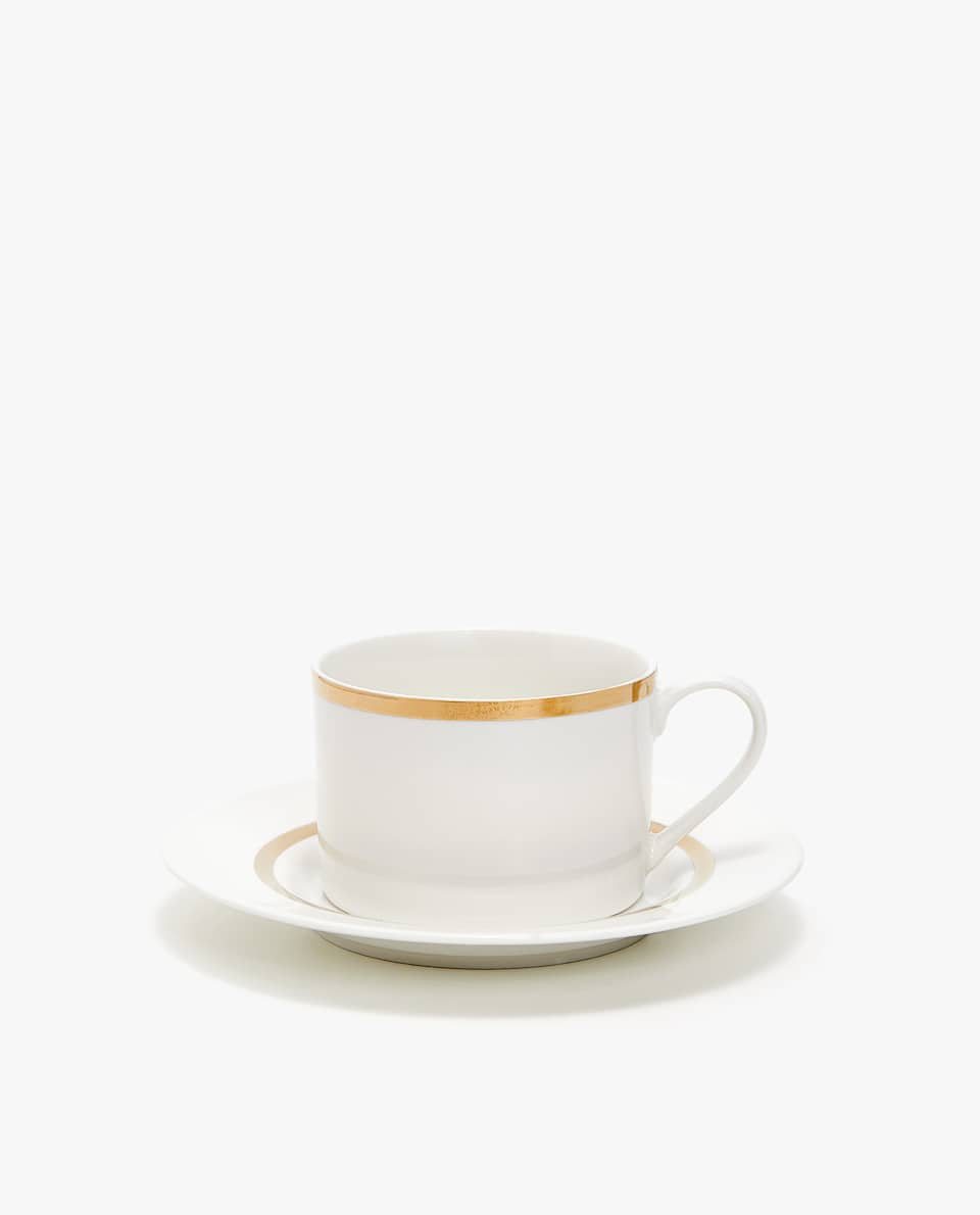Porcelain Teacup And Saucer With Gold Rim by Zara Home