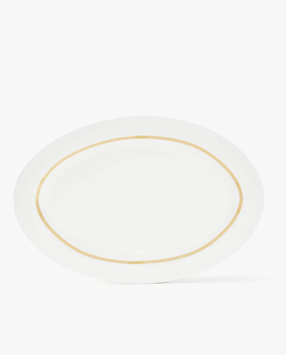 GOLD-RIMMED PORCELAIN SERVING DISH