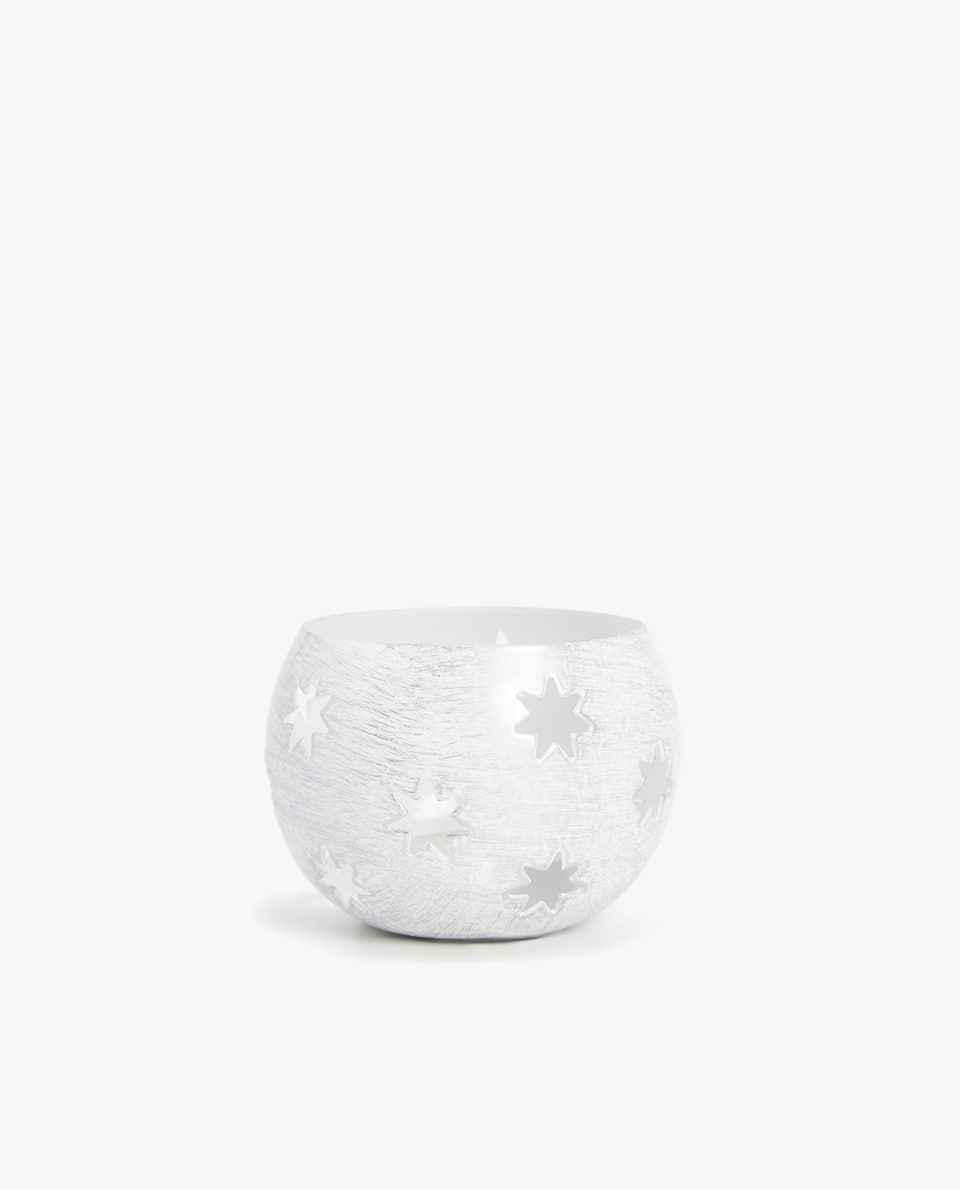 METALLIC TEALIGHT HOLDER WITH STARS