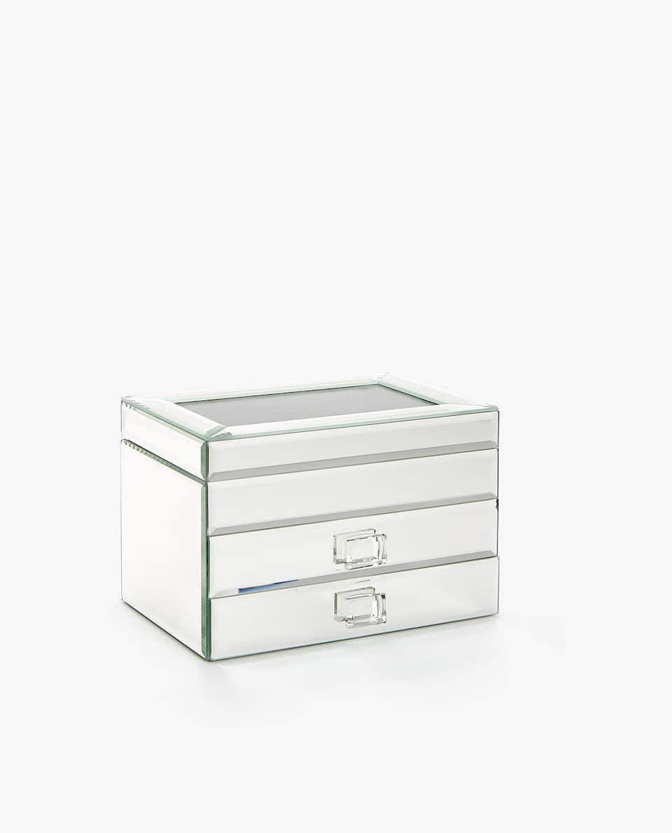 MIRRORED JEWELLERY BOX WITH DRAWERS