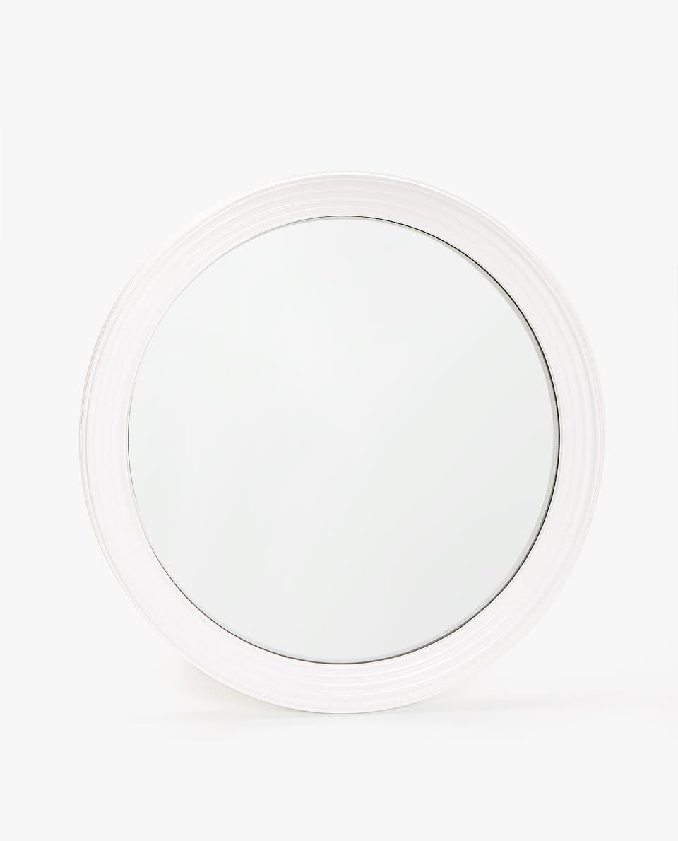 WHITE FRAME CONVEX MIRROR