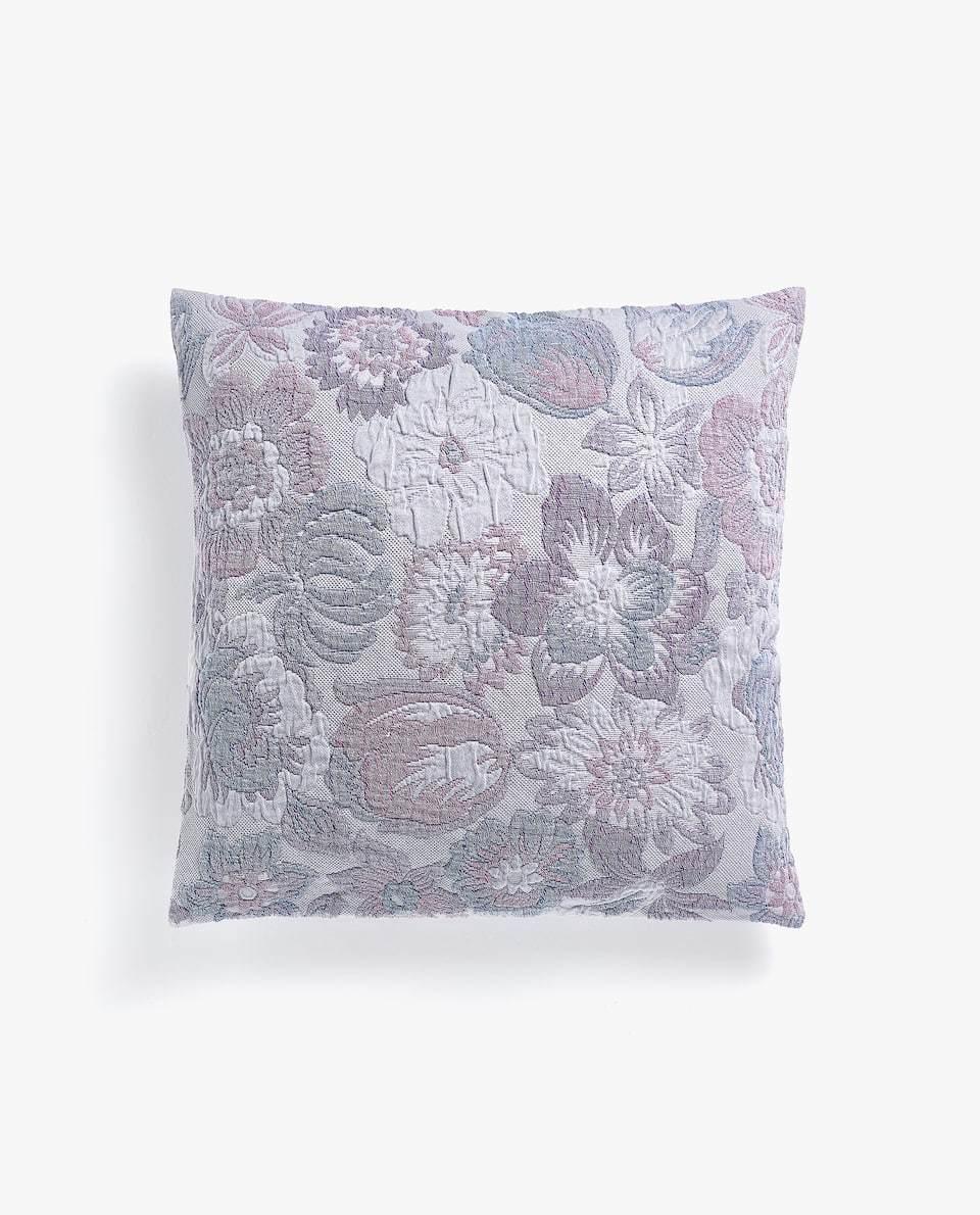 COTTON CUSHION COVER WITH MULTICOLOURED FLORAL DESIGN