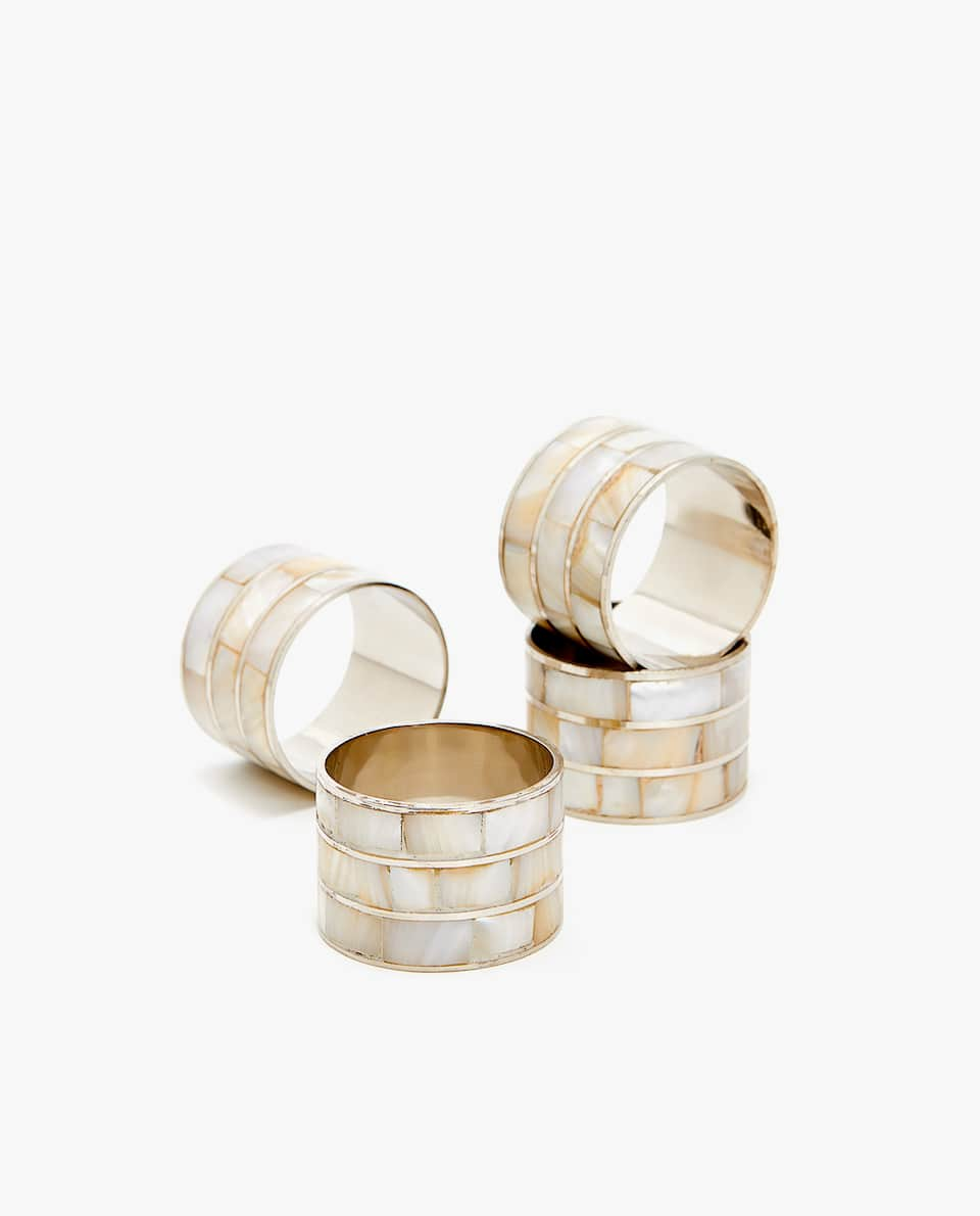 MOTHER OF PEARL NAPKIN RING (PACK OF 4)