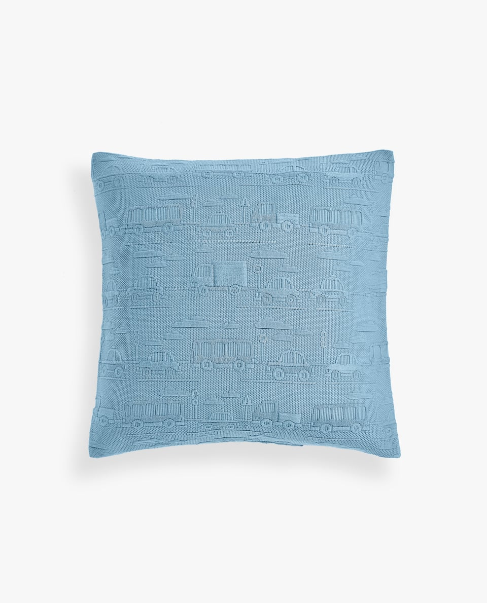 RAISED CAR DESIGN COTTON CUSHION COVER