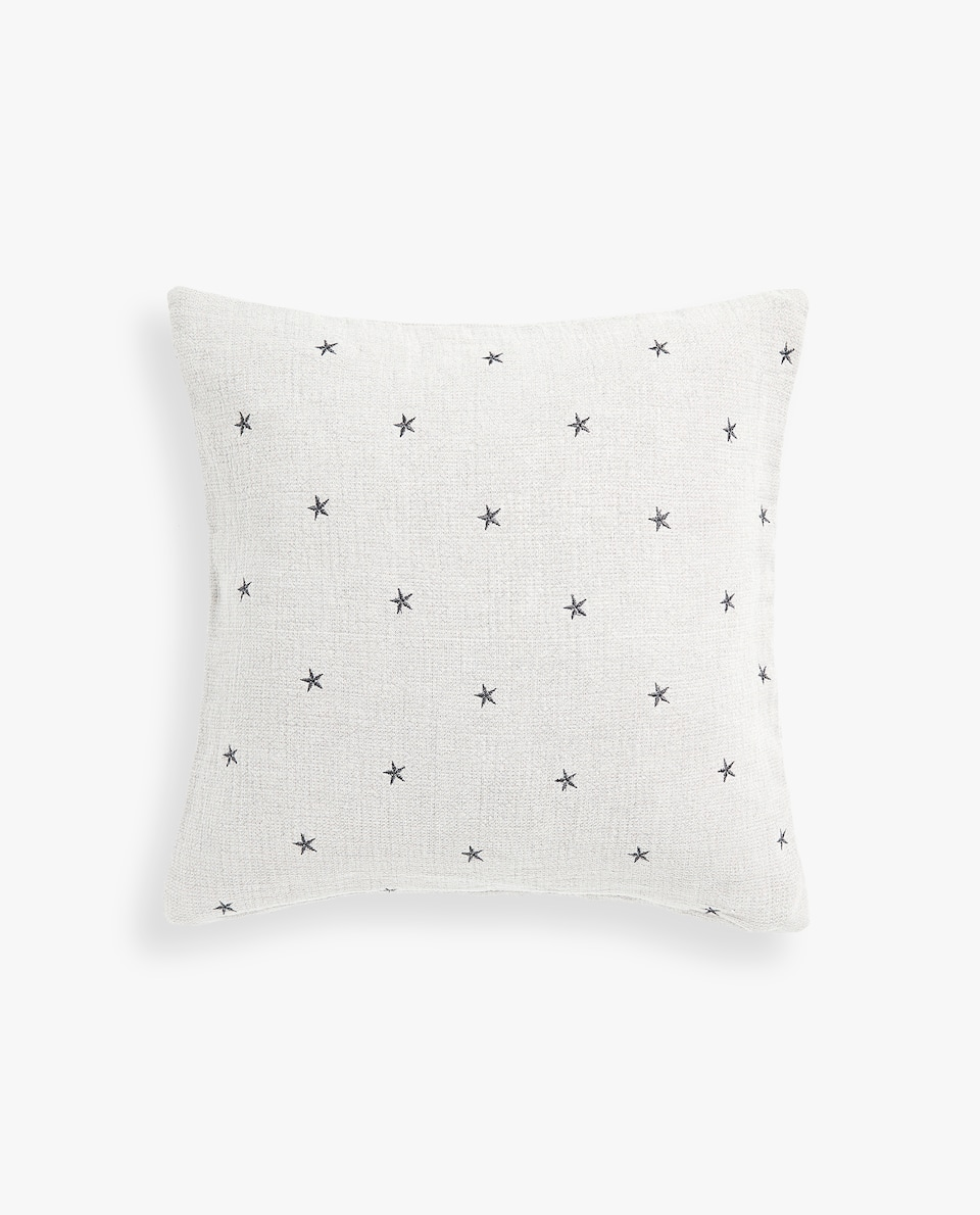EMBROIDERED STARS CUSHION COVER