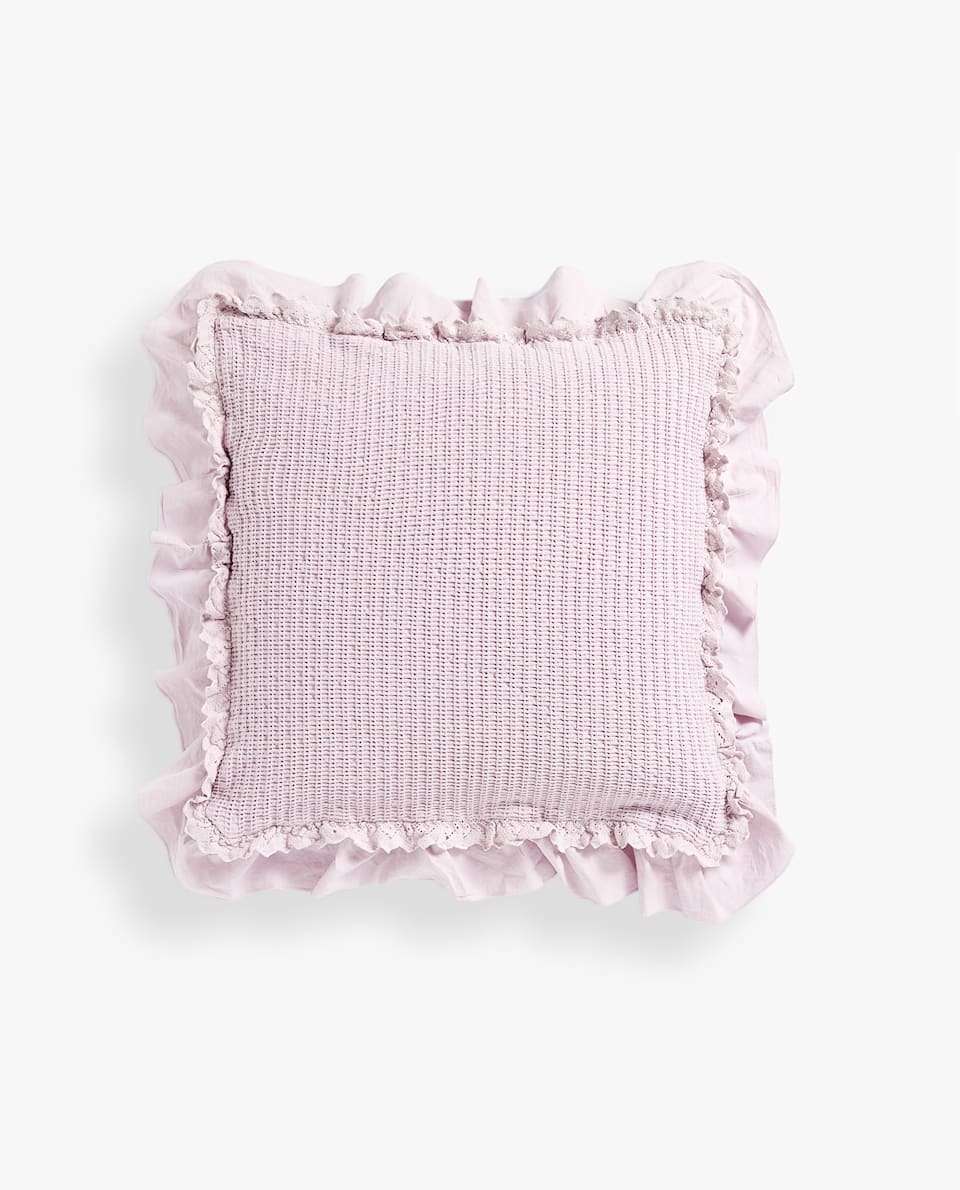 DOUBLE RUFFLE AND LACE TRIM COTTON CUSHION COVER