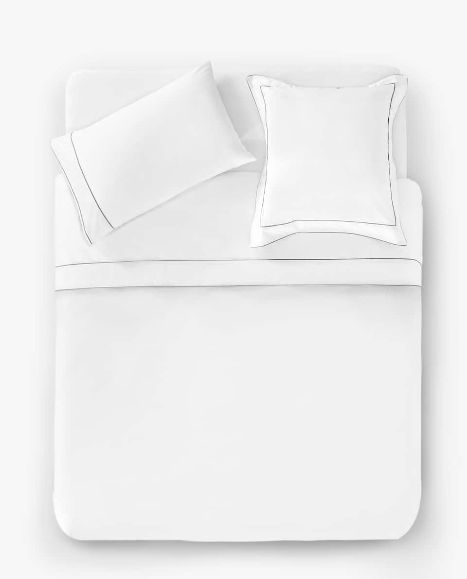 DUVET COVER WITH GREY PIPING