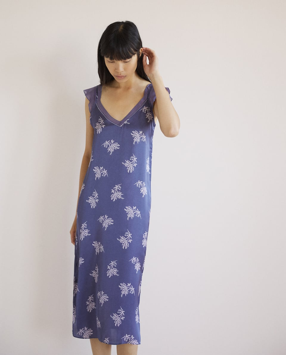 PRINTED SATEEN NIGHTDRESS