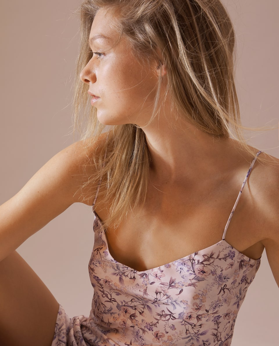 MULTI-FLORAL SATIN NIGHTDRESS