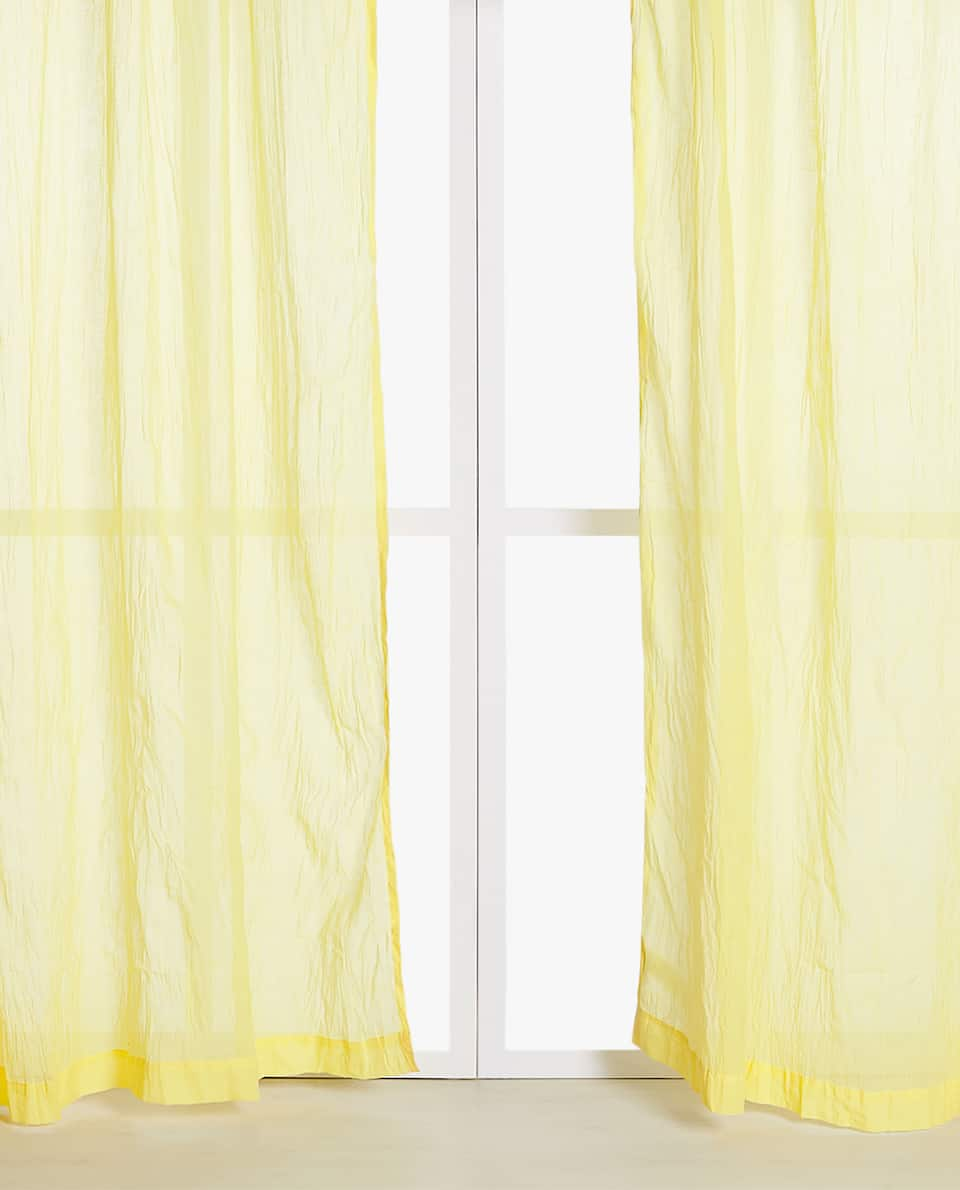 YELLOW SHEER COTTON CURTAIN