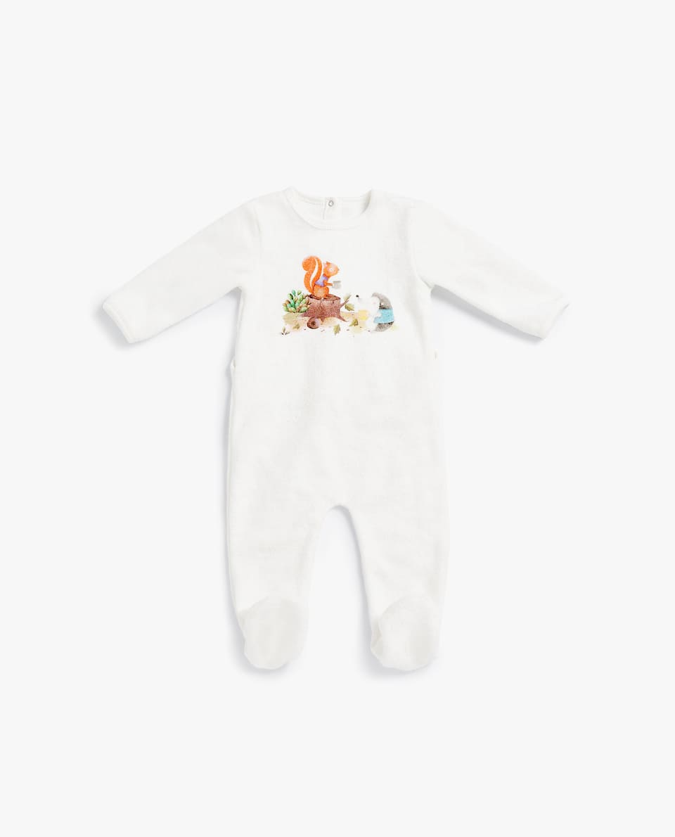 PRINTED COTTON TERRYCLOTH ROMPER