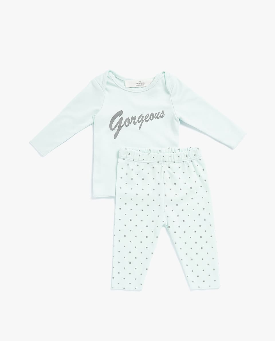 PRINTED COTTON BABY SET