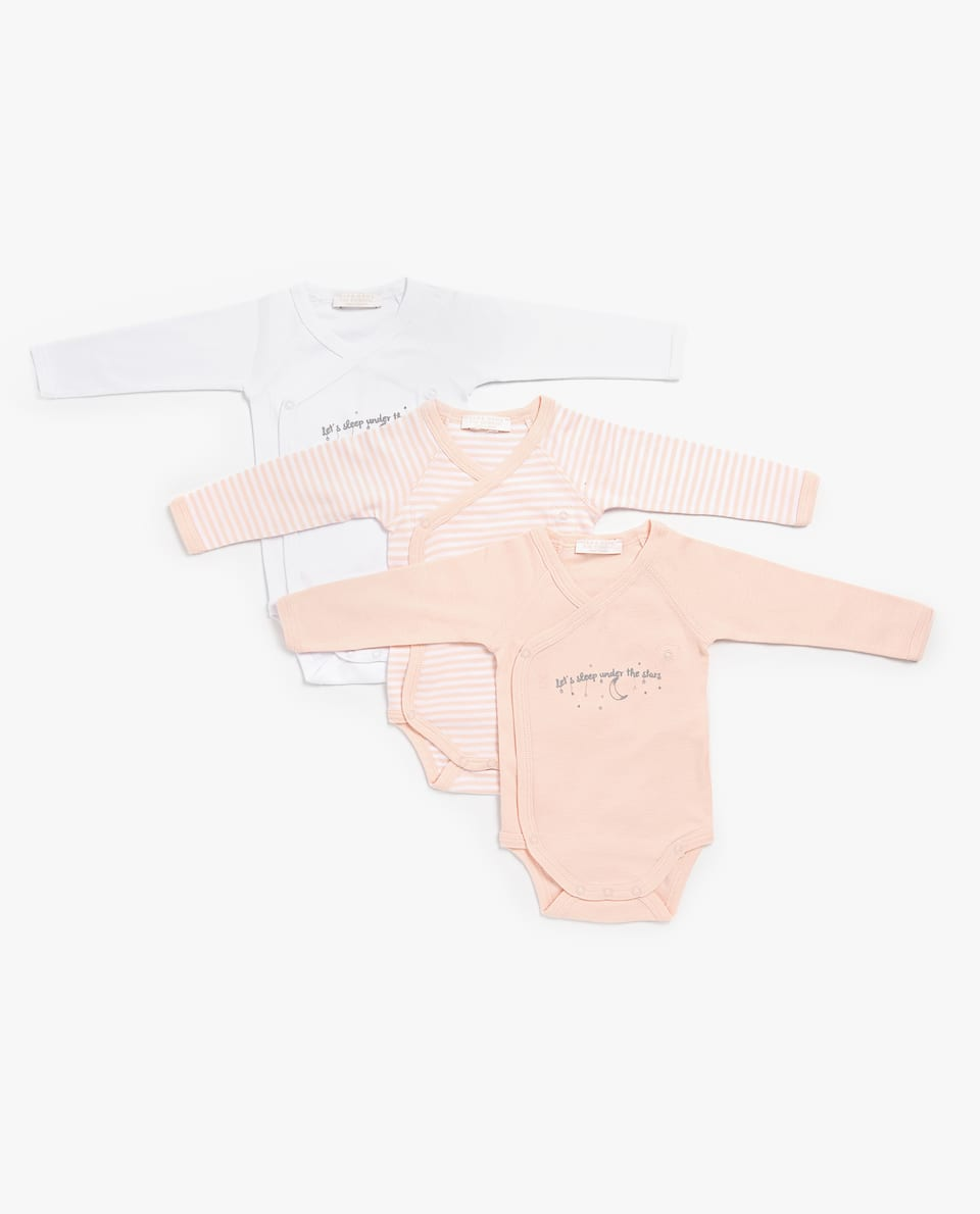 CROSSOVER MOON BODYSUIT (SET OF 3)
