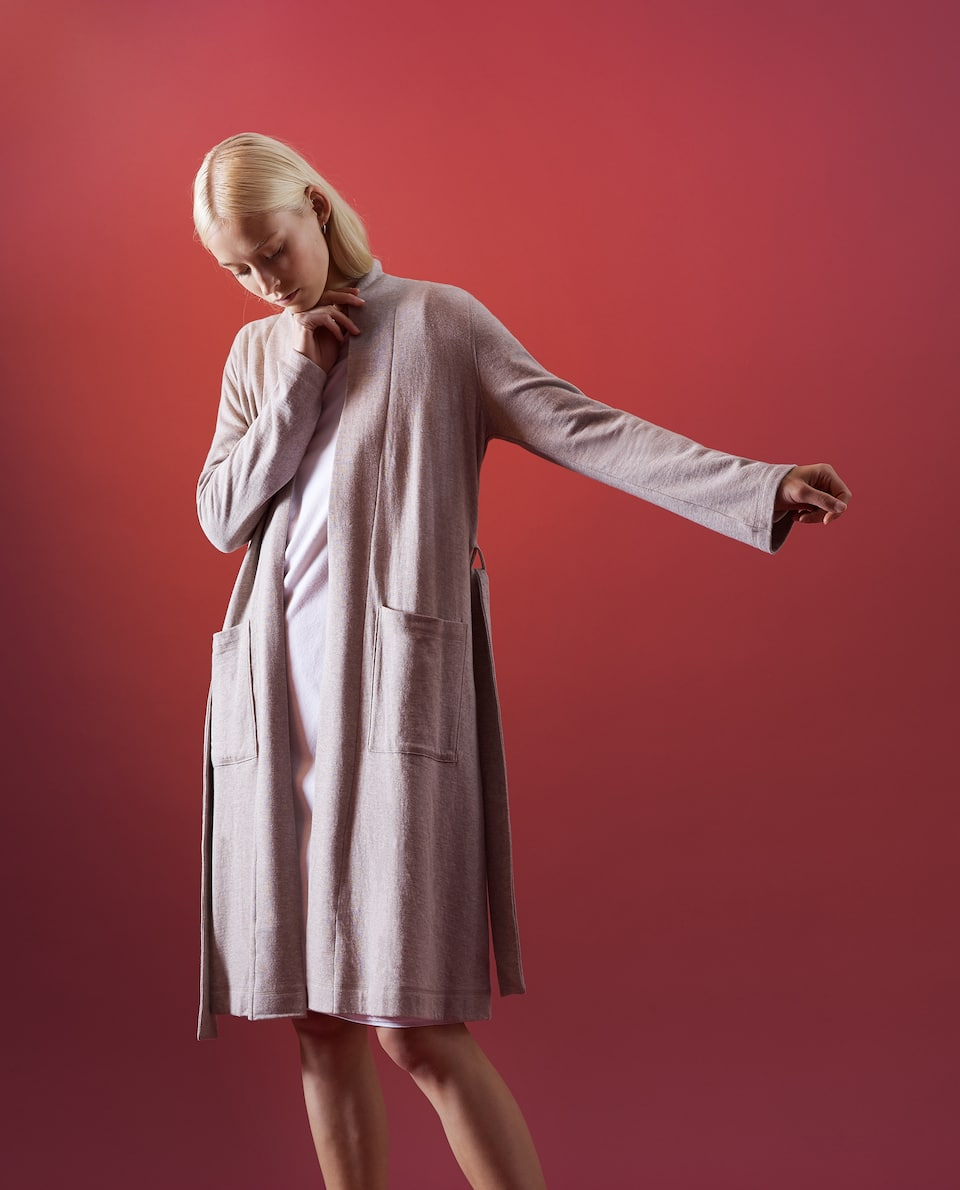 MELANGE COTTON DRESSING GOWN