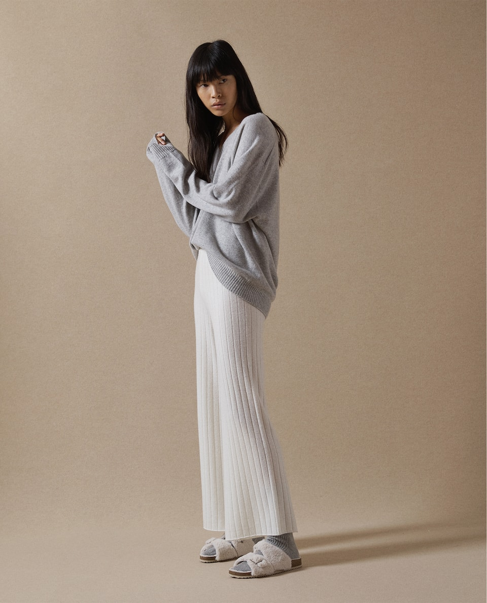 RIBBED CASHMERE TROUSERS