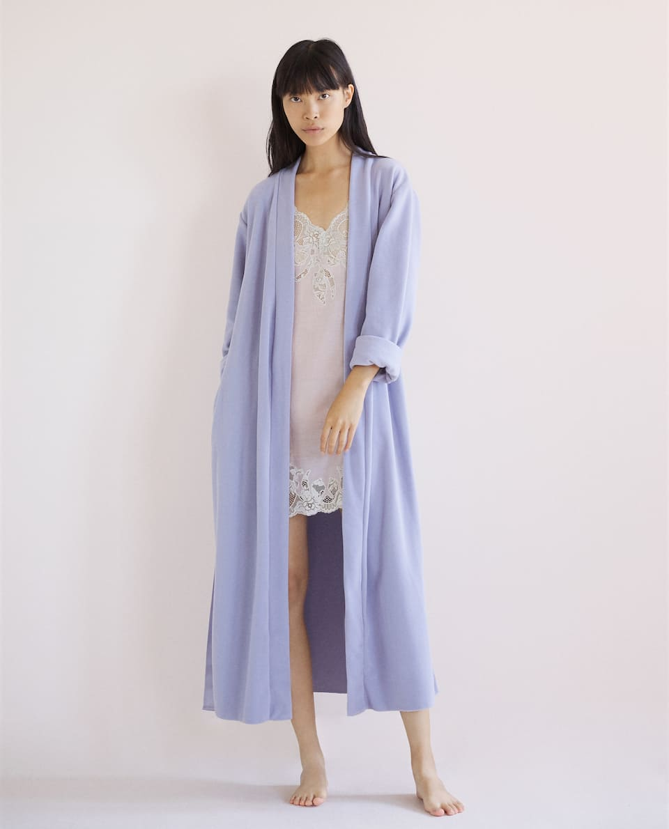 PLAIN FLEECE DRESSING GOWN
