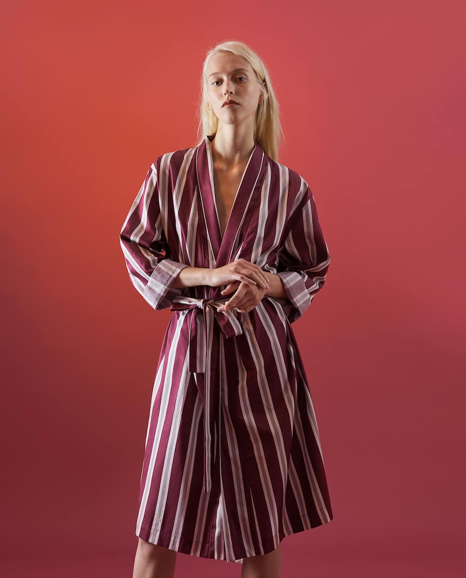 STRIPED SATEEN DRESSING GOWN