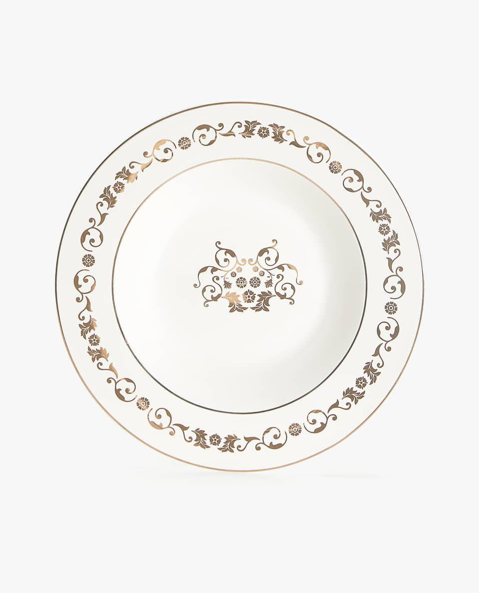 Gold transfer soup plate