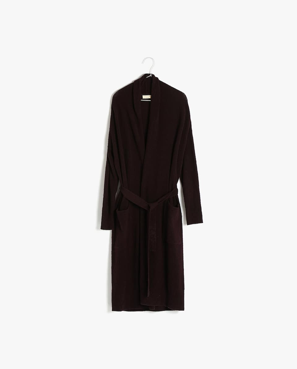 WOOL DRESSING GOWN WITH BELT